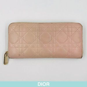 Auth Christian Dior Cannage pink leather wallet
